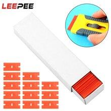 LEEPEE 100pcs 자동차 랩 스티커 스퀴지 Lable 깨끗한 면도기 접착제 리무버 더블 Edged 플라스틱 면도기 블레이드 창 유리 스크레이퍼