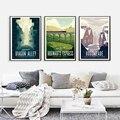 Hd Druck Vintage Kunst Malerei Diagon Alley Hogwarts Express Hogsmeade Retro Poster Reise Landschaft Poster Wand Kunst Bild