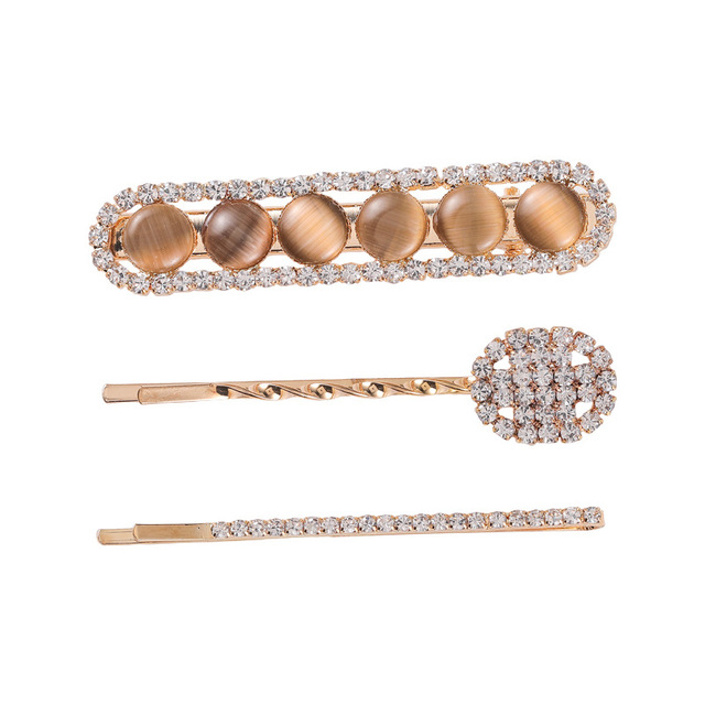 Korean Sweet Full Rhinestone Shiny Opal Barrettes Gold Color Alloy Twisted Geometric Hairpins Hair Accessories for Women Girls