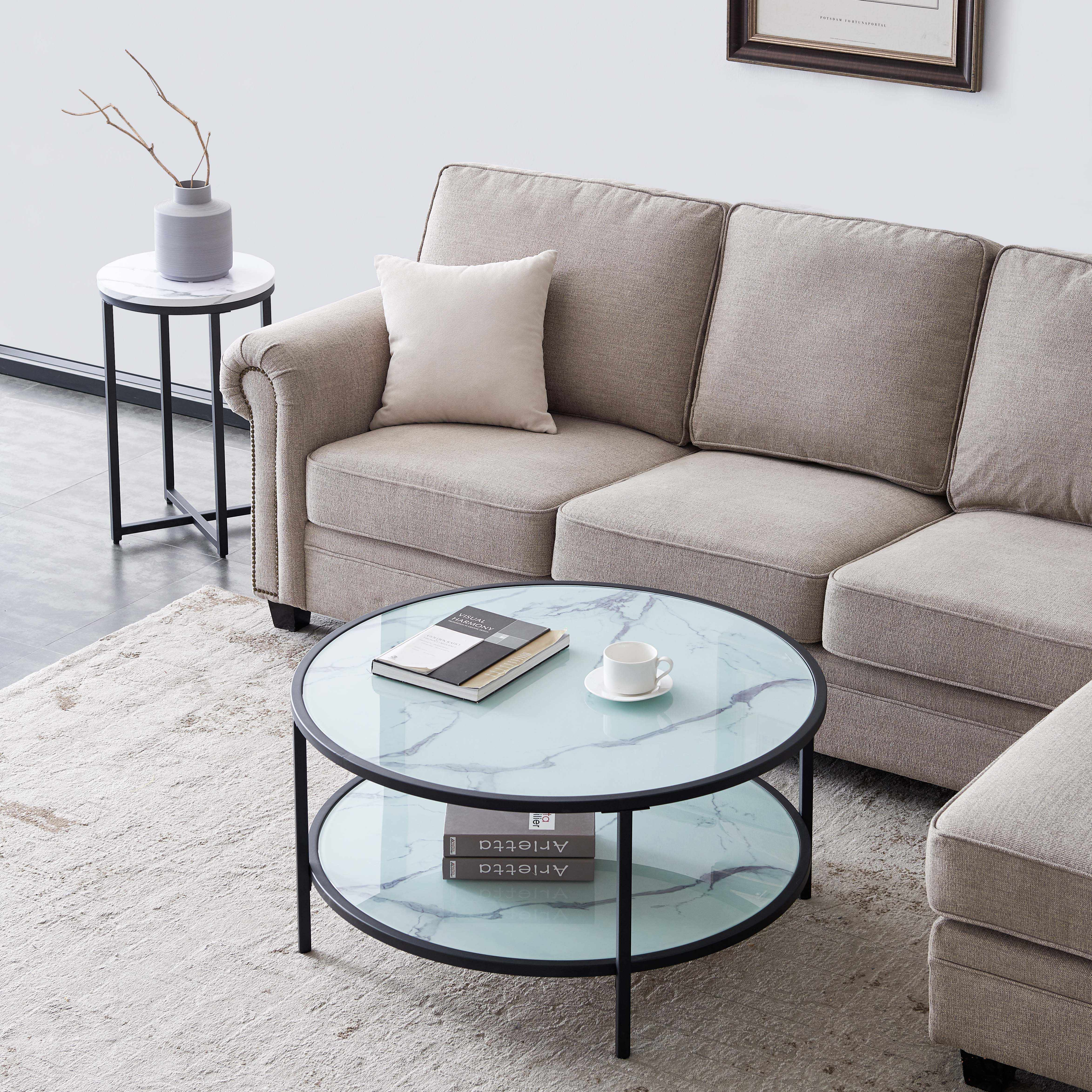 glass coffee side table marble pattern round with large storage space for living room 85 85 45cm modern simplicity us stock cafe tables aliexpress