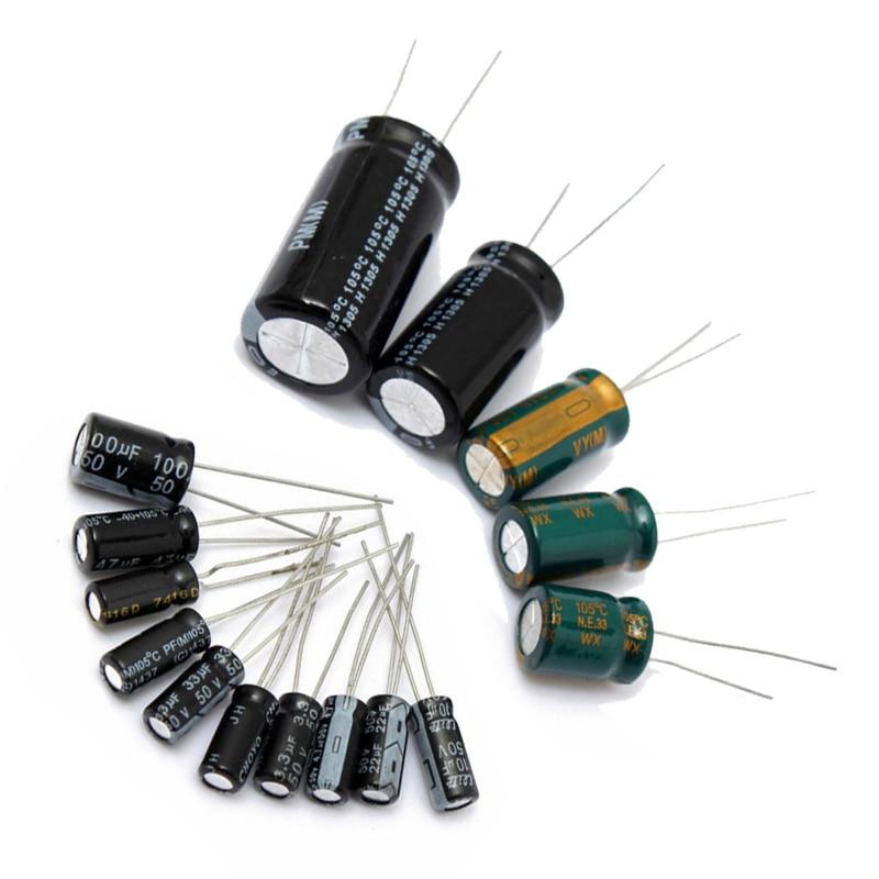 120pcs Set Aluminum Electrolytic Capacitor 0.22UF~470UF Assortment Kit New Electronic Components Accessories