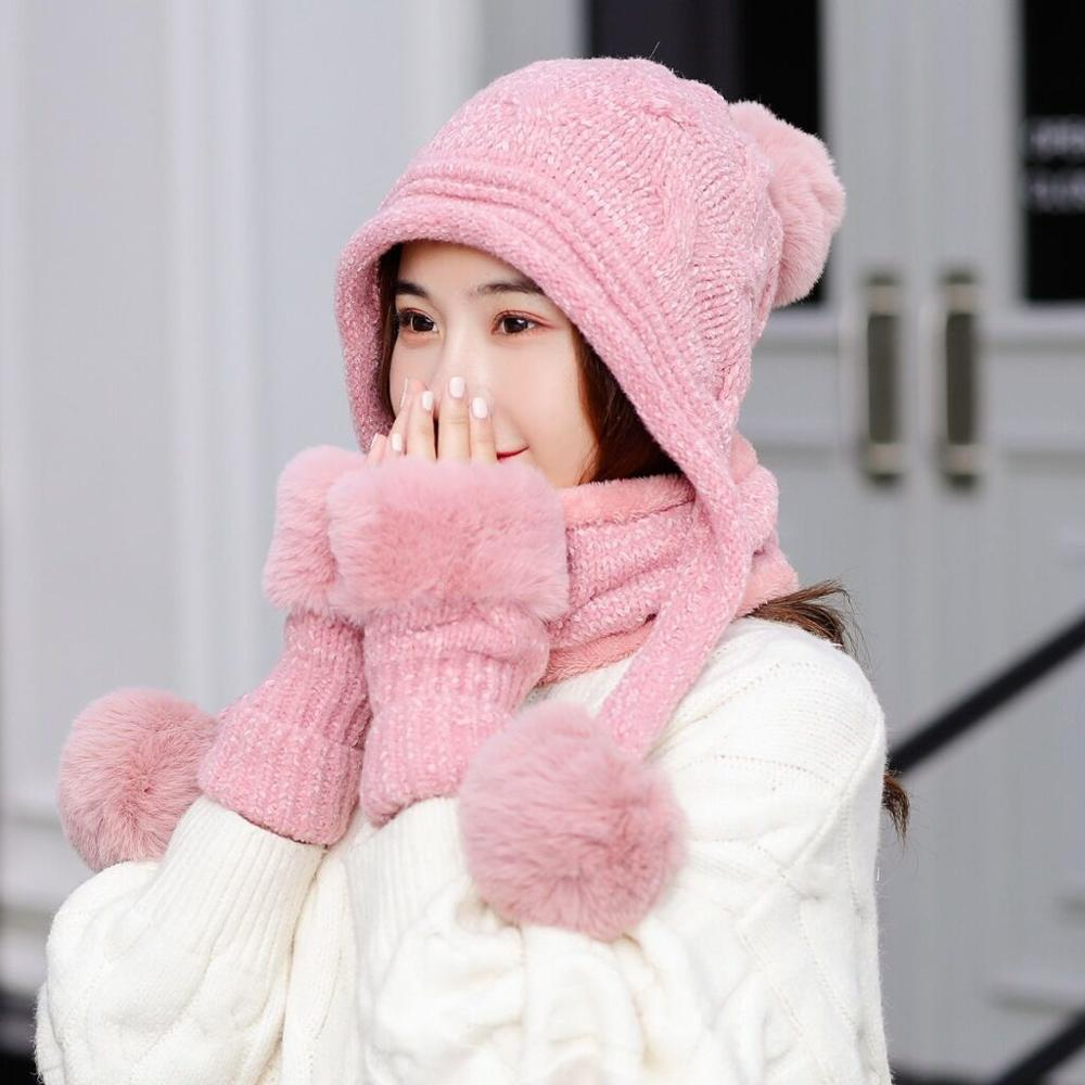 New Knitted Winter Hat Scarf Gloves Set Women Thick Warm Fashion Cap For Female Gift 2019 11.11