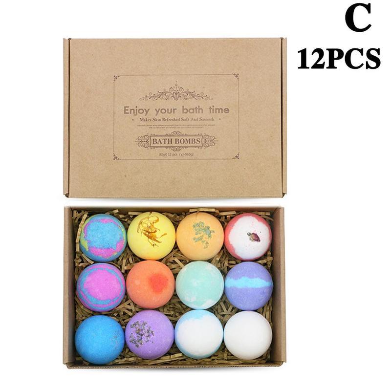 6/9/12 pcs(1 pcs 60g) Bath Bomb Skin Whitening Bath Salt Body Moisturizing Bath Bombs Ball Natural Bubble Bath Salt Ball Gift Se 6