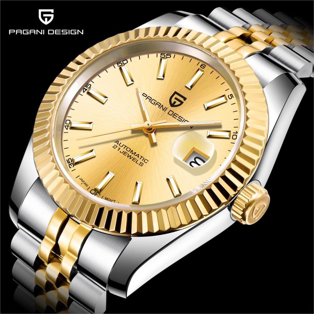 PAGANI Mechanical Watch Men Wrist Automatic Retro Watches Men Waterproof Black Full-Steel Watch Clock Montre Homme newWatch