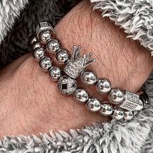 2pcs/Set Luxury Crown Bracelet Pave Cubic Zirconia Starlight Ball Charms Copper Beads Men Bangles For Men Jewelry Drop Shipping