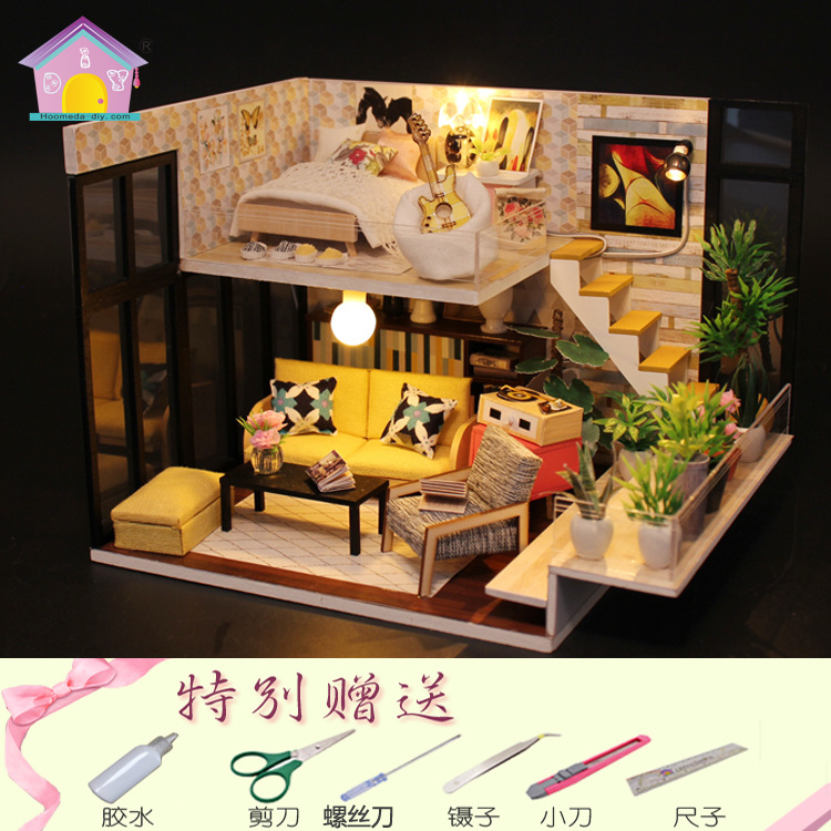 Hoomeda-diy Handmade DIY Hut Creative Assembled Toys Loft Home Valentine's Day Birthday Gift