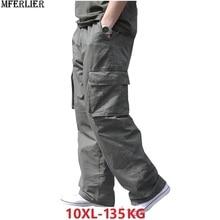 Зимние мужские хлопковые плотные брюки-карго с карманами на молнии, большие размеры, 8XL, 10XL, 9XL, 140 кг, повседневные штаны в стиле сафари, черные, 48