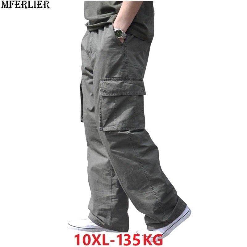 Spring Men Cargo Cotton Thick Pants Pocket Zipper Large Size Big 8XL 10XL 9XL Out Door Casual Safari Style Loose Pants Green 48
