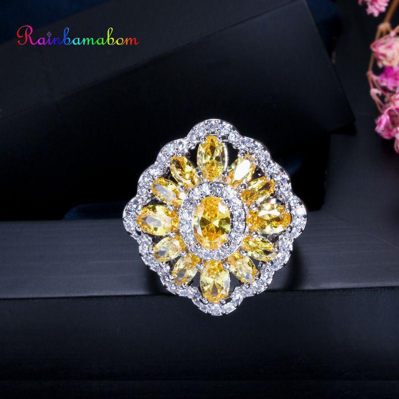 Rainbamabom Luxury 925 Sterling Silver Citrine Gemstone Wedding Engagement Diamonds Flower Women Ring Fine Jewelry Wholesale