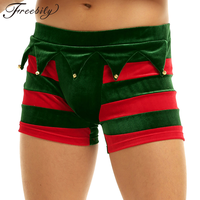 Men boxers Velvet Wide Elastic Waistband Bulge Pouch Christmas Holiday Fancy Cosplay Costume Striped Boxer Shorts with Bells