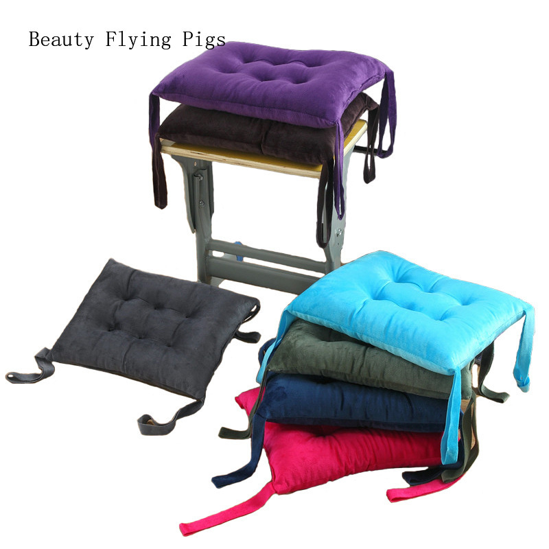 Direct Sales New Crystal Velvet Rectangular Bench Student Cushion Classroom Office Solid Color Plush Warm Classroom Cushion Pad