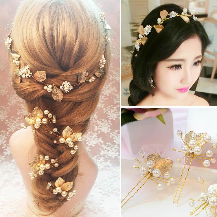 Golden Leaf Headdress Set Bridal Headdress Wedding Dress Ornament Bridal Hair Tie Headdress