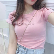 New arrival PINK letter cotton T Shirts summer women Navel Bare Cropped Streetwear Fashion Top Tee Slim Fit Short T-shirt(China)