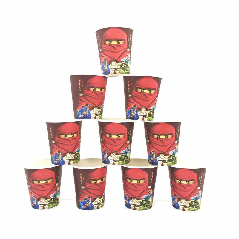 أكواب الكرتون القابلة للتصرف/انفجارات/كعكة القبعات العالية/الأغلفة/قبعة للأولاد الصغار Ninjago النينجا موضوع لوازم حفلة عيد ميلاد