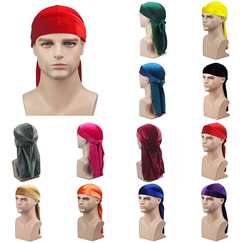 Men Velvet Long Tail Durag Hip Hop Turban Breathable Bandana Hat Velvet Silky Satin Durag Do Doo Du Rag Long Tail Headwrap Hot