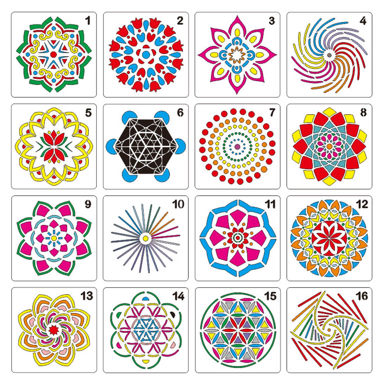 16pcs Mandala Dotting Tools Templates Stencil Set DIY Design For DIY Painting Drawing Drafting Art Craft Projects Accessories