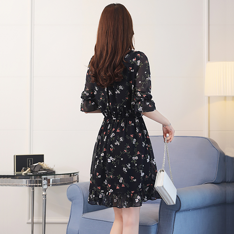 Plus Size Summer Vintage Chiffon Floral Boho Shirt Dress 2019 Korean Elegant Women Party Mini Dresses Casual Sun Beach Vestidos