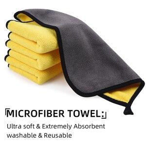 Image 4 - 3/5/10 Pcs Microfiber Handdoeken Voor Auto S Auto Drogen Wassen Detaillering Buffing Polijsten Handdoek Met Pluche Edgeless Microfiber Doek