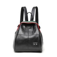 цена на Fashion Women Backpack 3D logo Leather Backpacks for Teenager Girls Female School Shoulder Bags Daily Travel Backpack Mochila