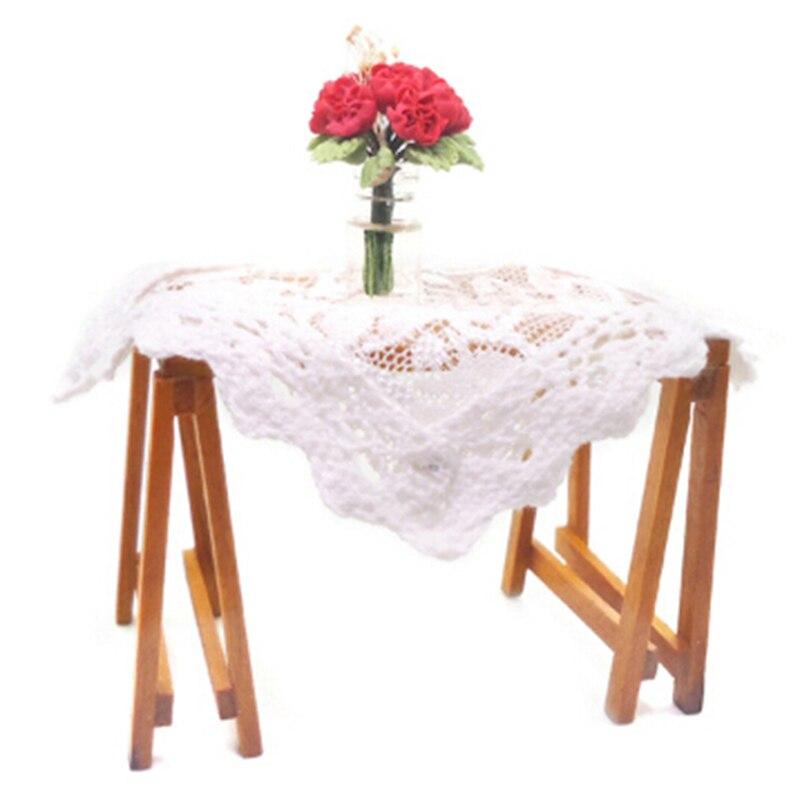 Esteira de mesa de malha branca para bonecas, tapete de mesa de café para casa de bonecas, modelo de cenário de brinquedo 1:12, miniatura de escala 9cm, decoração de móveis
