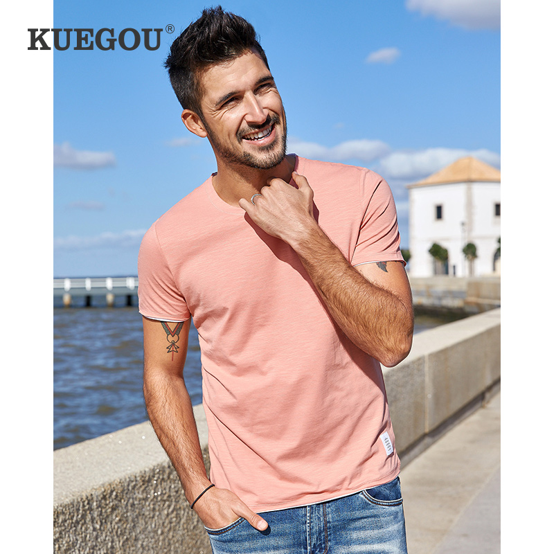 KUEGOU Brand Summer Men's   Short Sleeve T-shirt Elastic  Fashion Simple Round Collar Pure Color Couples  T Shirt  PT-1204