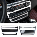 Автомобильный Стайлинг из углеродного волокна центральная консоль кондиционер объем CD панельные крышки наклейки отделка для BMW X5 E70 X6 E71 акс...