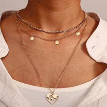 CC Creative vintage small circular heart-shaped hollow map hanging multilayer three-layer Necklace for women jewelry wholesale