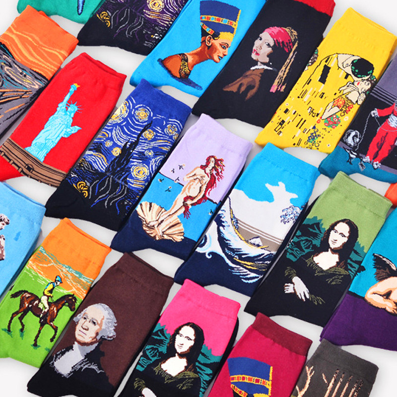 1 pair Hot Sale Classic Autumn Winter Retro Women Personality Art Van Gogh Mural World Famous Painting Female Sock Oil Socks