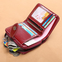JIULIN Small Card Holder Genuine Leather Women Wallet Female Coin Purse Mini Portomonee Clamp for Money Bag Lady Slim for Girls