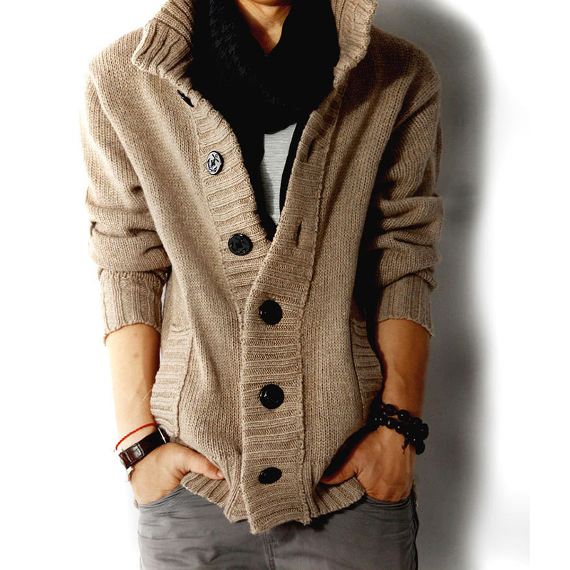 2019 Autumn Thick Warm Cardigan Sweater Men Winter Fashion Solid Knitted Jumper Sweaters Casual Pockets Turtleneck Sweater Coat
