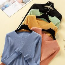 Women Fahion Candy Color Sweater Slim Knit V-neck Long Sleeve Sweater Bottoming Shirt Female Tops knit v neck sweater