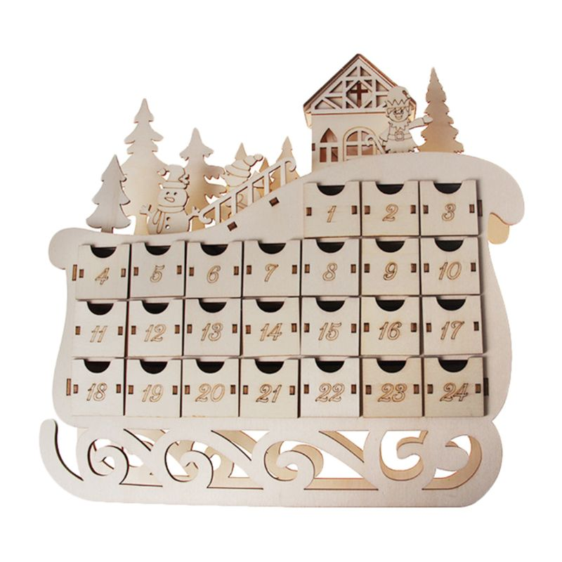 Tree House Sleigh Wooden Advent Calendar Countdown Christmas Party Decor 24 Drawers with LED Light Ornament