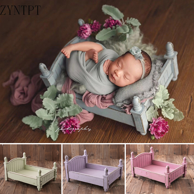 Vintage Posing Wood Bed For Baby Newborn Photography Props Photo Flokati Shoot Studio Accessories Fotografia Photoshoot Baskets