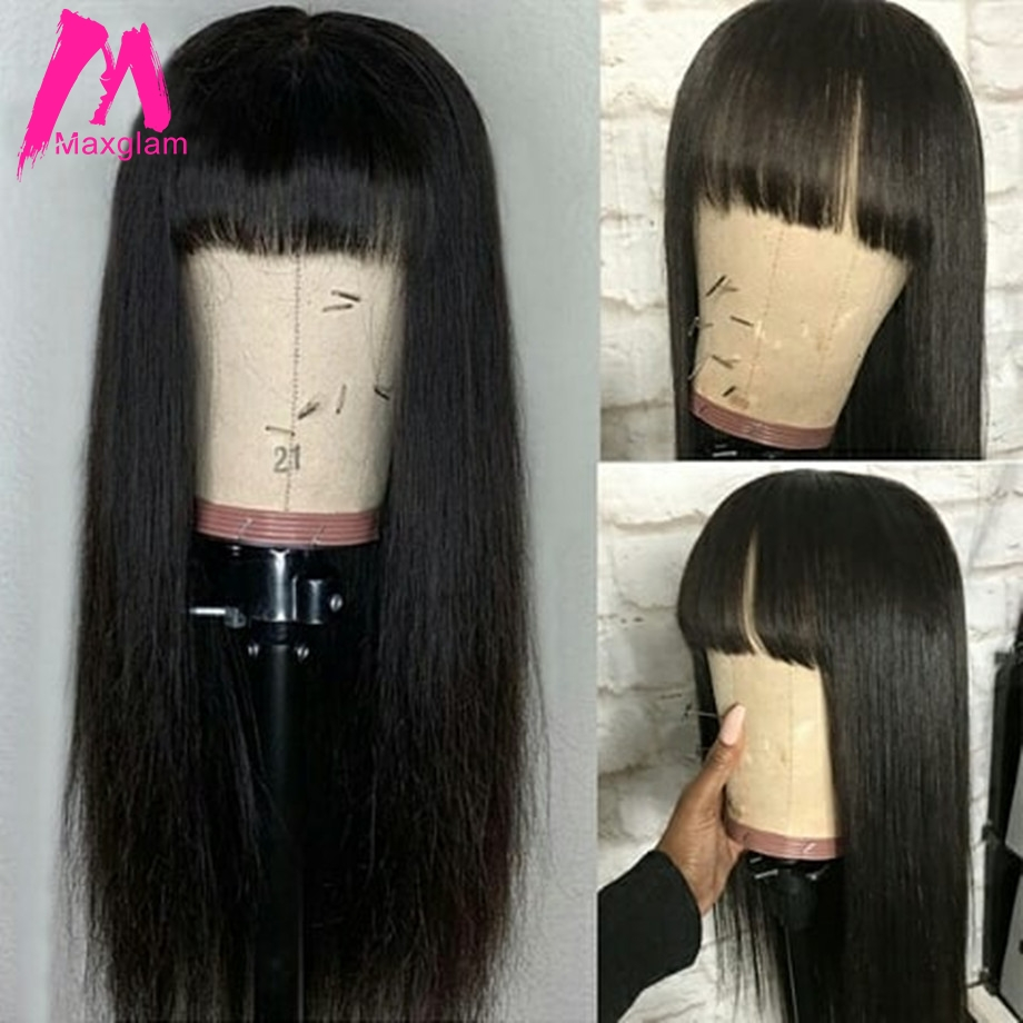Human Hair Wigs With Bangs Short And Long Wig For Black Women Straight Brazilian Remy Hair Natural Hairline