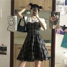 2020 Summer New Korean Sleeveless Skirt High Waist All-match A- line Ruffles Dungaree Dress Women sweet lolita dress