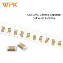 Conjunto de condensadores SMD de 100 Uds., Kit completo disponible, 1206, 5%, 3216, 200pF-47uF, 270pF, 22nF, 56nF, 10uF, 50V, 221K, 102J, 104K, 475K, MLCC
