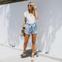Lace Up Fashion Denim Female Short Jeans for Women Casual Summer Ladies Hot Light Blue Sashes Sexy Shorts Femme