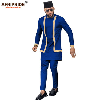 2019 African Mens Clothing Set Outfit Suit 3 Pieces for Men Dashiki Shirt Ankara Pants Tribal Hat Tracksuit AFRIPRIDE A1916016 1