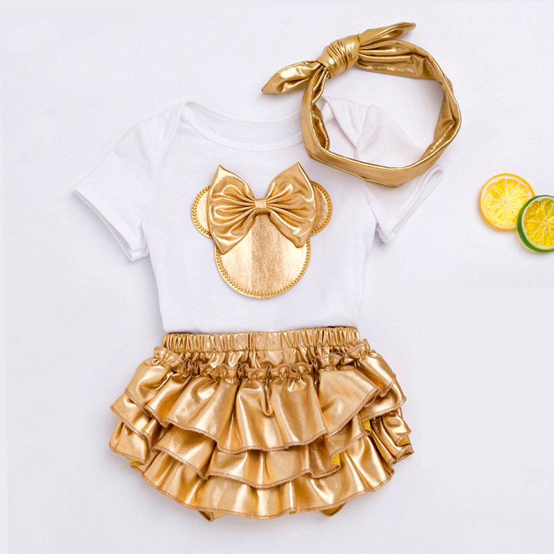Модная одежда для маленьких девочек топы с короткими рукавами, комбинезон с галстуком-бабочкой + короткое платье + повязка на голову, компле...