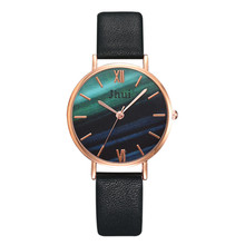 Hot sale Luxury Brand simple Multicolor marble dial Ladies Quartz Wrist Watch black Leather Wild Watches Female Clock Hours dial clock hours hand date black brown leather men s wrist watch