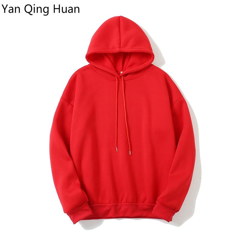 New Fashion Solid Color Warm Winter Women's Tops Hoodies Korean Red Long-sleeved Hood Loose Padded Sweatshirt Coat Sportswear