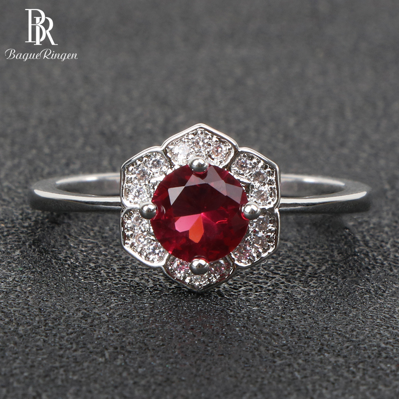 Bague Ringen Geometry Sterling Silver 925 Rings for women jewelry Gemstones ruby size6-10 Female Anniversary Gift finger ring