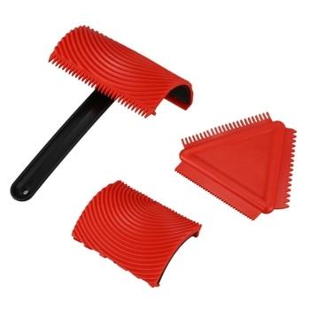 1 Set MS1814 Handheld Wood Grain Tool Art Paint Red Rubber Roller Puller