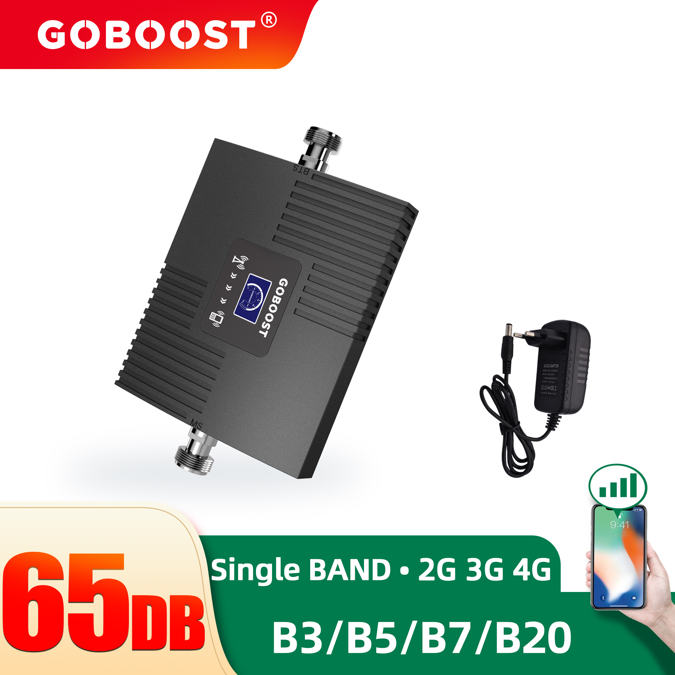 GOBOOST LTE 2600 Signal Booster Led Dispaly Band 7 Celluar Amplifier with a Power Supply Pulg 4 Options EU US AU UK Single