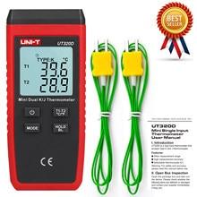 UNI-T ut320d mini tipo de contato termômetro digital duplo canal k/j medidor de temperatura lcd backlight data hold termostato