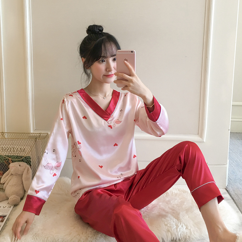 2019 New Products Imitated Silk Fabric Girl'S Autumn Korean-style Cute Casual Long Sleeve Long Sleeve Tracksuit