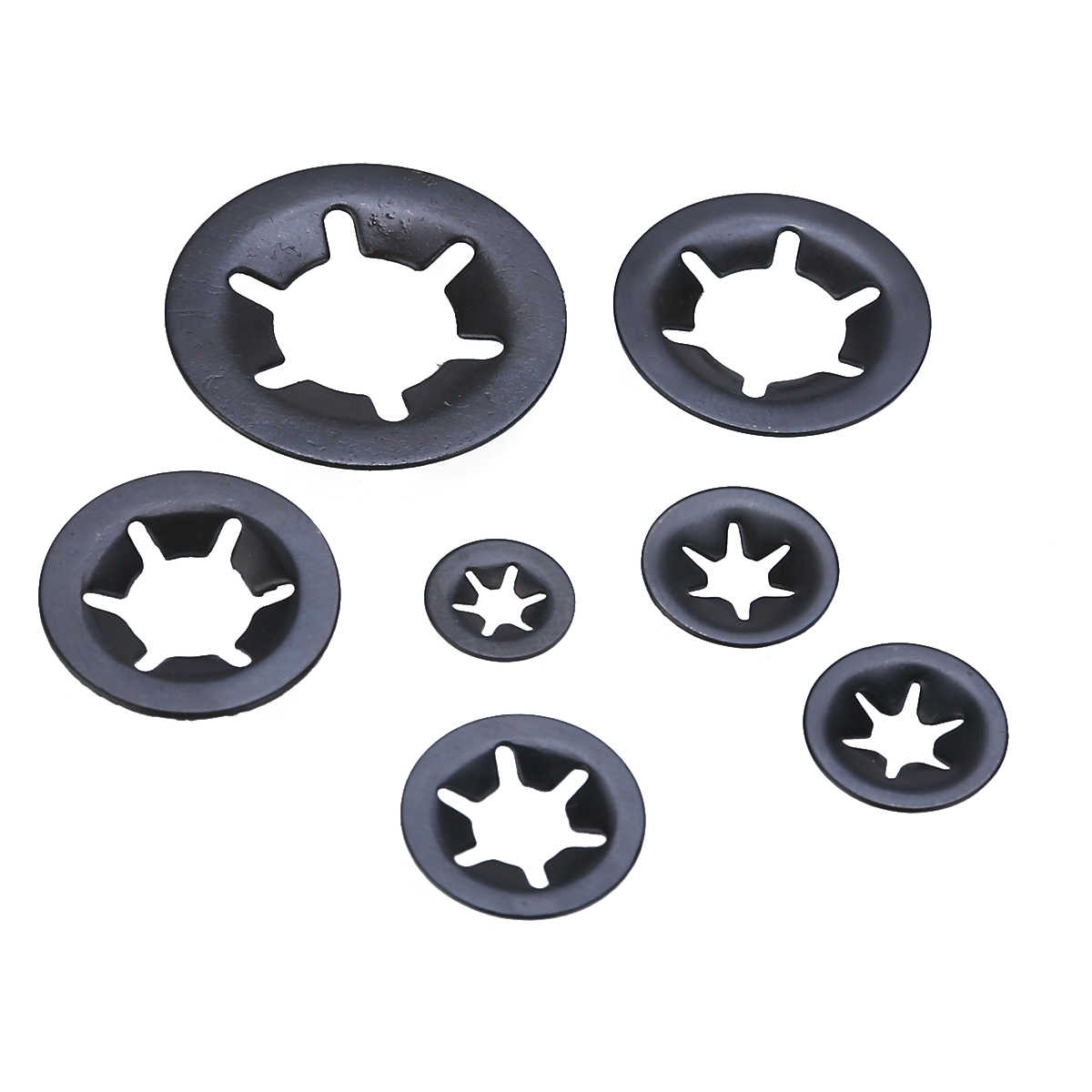 Assorted Star Push On Lock Clamp Speed Grab Star Washers  2mm-16mm Packs Of 10