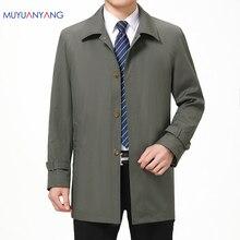 Mu yuan yang único breasted masculino trench jackets turn down collar casual homens jaquetas de meia idade sólida trench zíper casacos