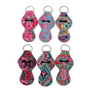 6Pcs Neoprene Floral Waterproof Lipstick Chapstick Holder Bag purse back-pack Key Chain Jewelry keychain Gifts Accessories(China)