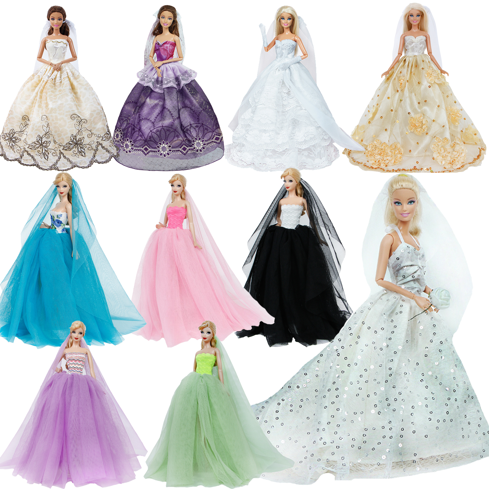 Fashion Strapless Lace Ball Gown Bride White Wedding Dresses Princess Trailing Veil Clothes For Barbie Doll Accessories Girl Toy
